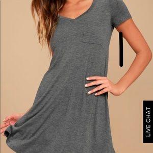 Grey short sleeved t-shirt dress